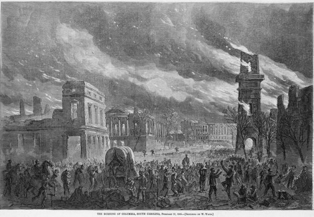 1865 Burning of Columbia by William Waud for Harper's Weekly